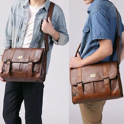 Boy Satchel Briefcase laptop travel bags Men/'s Retro Leather shoulder bag