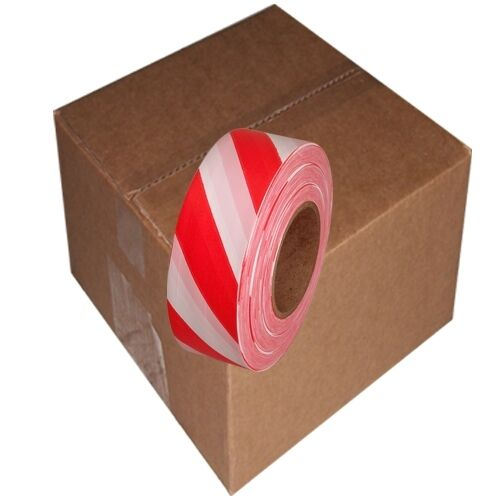 Red   White Safety Striped Flagging Tape 1 3 16  x 300 ft Non-Adhesive(12 Rolls)