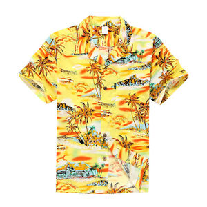 NWT-Aloha-Shirt-Cruise-Tropical-Luau-Beach-Hawaiian-Party-Yellow-Sunset-Palm