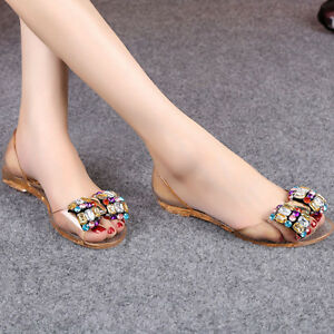 5c9b40c9ccd Summer Women Jelly Sandals Bling Bowtie Fashion Peep Toe Shoes Flats ...