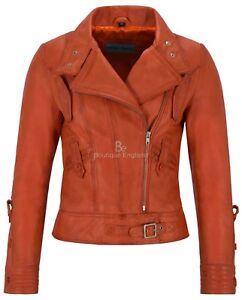 pelle donna Giacca arancione vera agnello da in pelle di Supermodel 4110 Designer in biker stile wwqZ1Uf