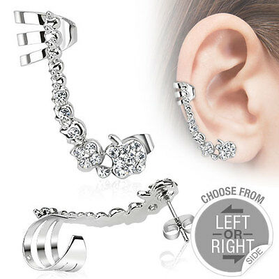 One pc 316L Stainless Steel Cartilage Ear Cuff with Pave Gems