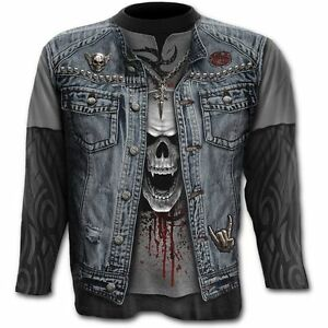 Spiral-Direct-COMUNICADO-DE-THRASH-METAL-Camiseta-Manga-Larga-Evil-Rock-Calavera