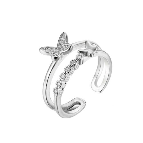 QA/_ LX/_ EG/_ Lady Sweet Butterfly Charm Adjustable Open Ring Finger Jewelry Xma