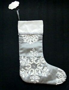 Gray Christmas Stockings.Details About Bella Lux Christmas Stocking Silver Gray Holiday Collection Jewels Home Decor