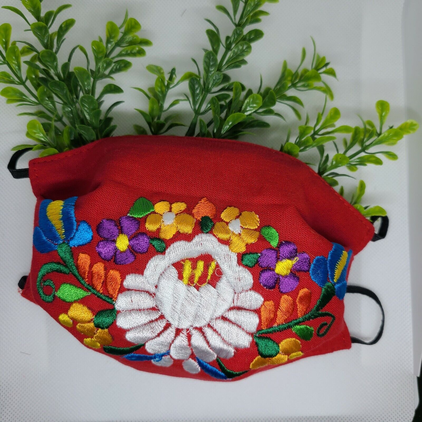 Woman Face Mask Red Embroired Handmade Reusable Fashion