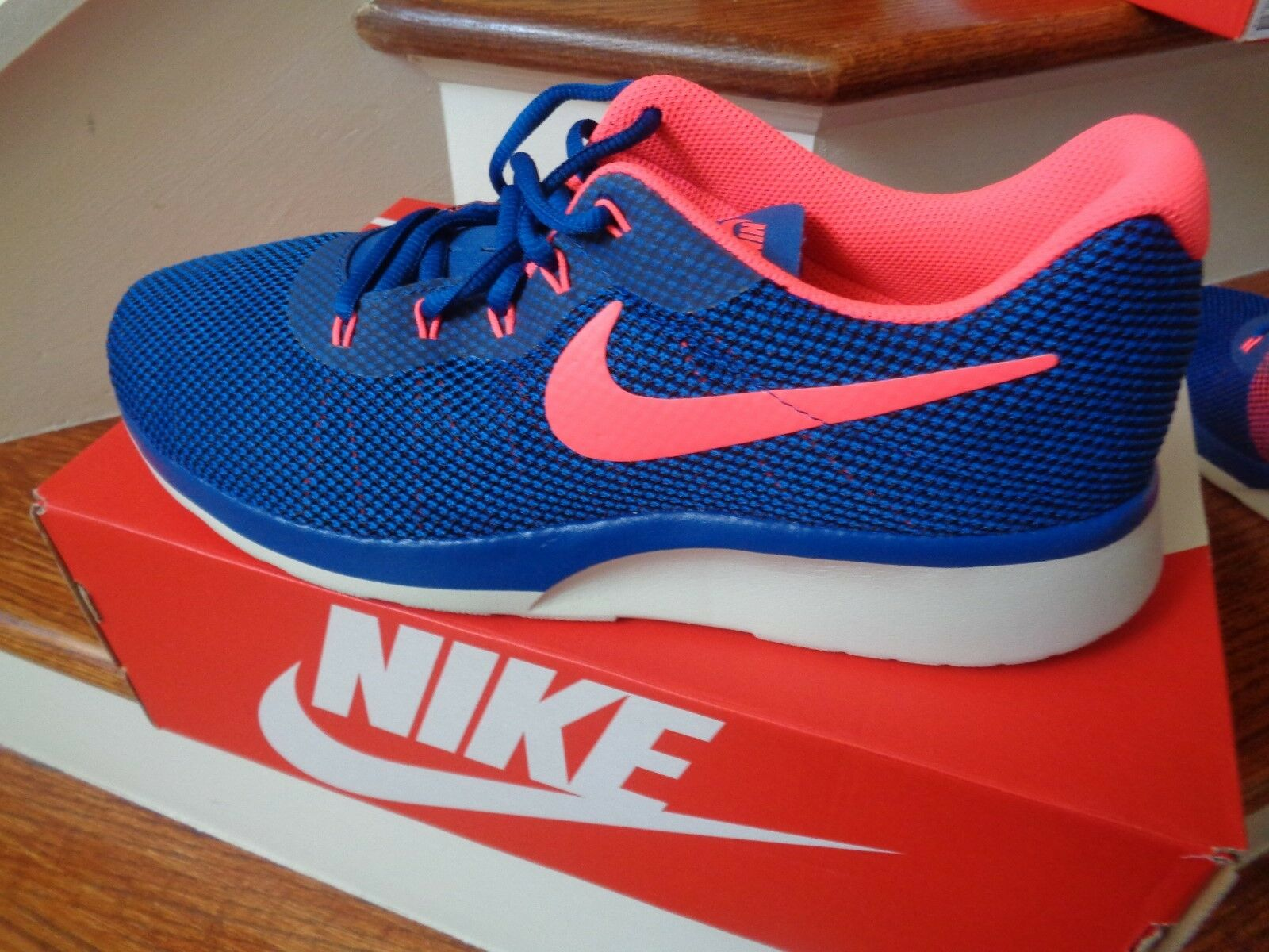 0d5575c30c50 Nike Tanjun Racer Mens 921669-402 Gym Blue Solar Red Running Shoes ...