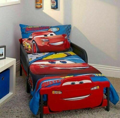 Disney Cars Toddler Bedding 4Pc Quilt Sheet Set Junior Cot Bed Lightning McQueen