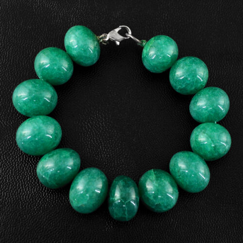 PREMIUM QUALITY 301.50 CTS EARTH MINED GREEN EMERALD ROUND BEADS BRACELET DG