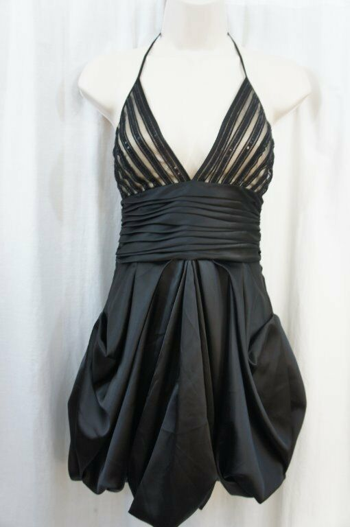 Basix schwarz Label Dress Sz 0 schwarz Embellished Halter Evening Cocktail Party