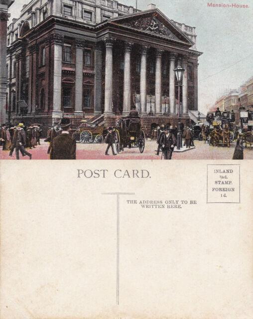 1920's THE MANSION HOUSE LONDON UNUSED COLOUR POSTCARD