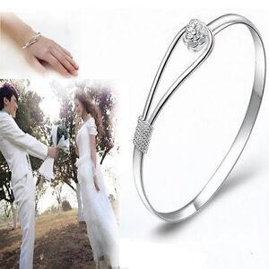 1PC New Fashion Women Lady Silver Plated Bracelet Charm Bangle Cuff Jewelry Gift