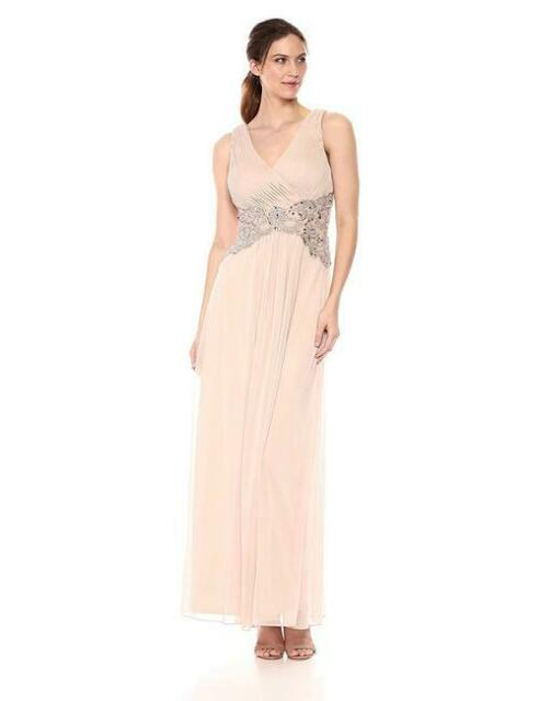 NEW $450 XSCAPE WOMEN'S PINK EMBELLISHED V-NECK SLEEVELESS EVENING DRESS SIZE 8