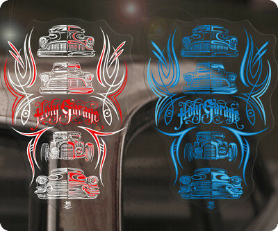 2x pieces Holy Garage Hot Rod Kustoms pinstriping sticker decal by Makoto COOL