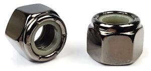 Black-Chrome-Nylon-Insert-Lock-Nuts-Nylock-USA-Made-10-24-to-1-2-034-20-QTY-2