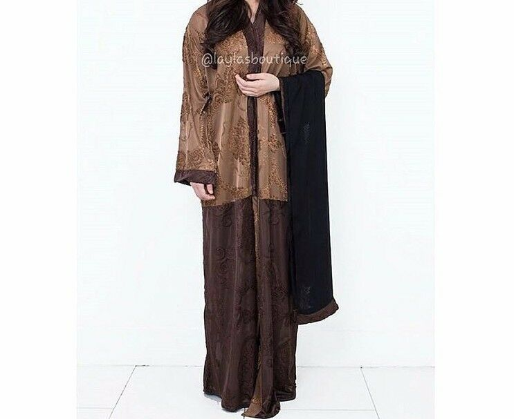 Brown Lace Embossed Dubai Open Abaya Kaftan Kimono Dress Size 56 BNWOT