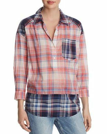 Joie Briselda Contrast-Plaid Shirt MSRP  188 Size XS D 173 NEW