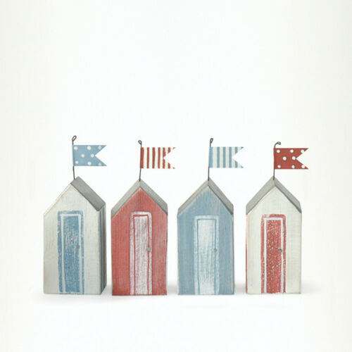 Wooden East of India Small Nautical Summer Theme Beach Huts Red// Blue Gift