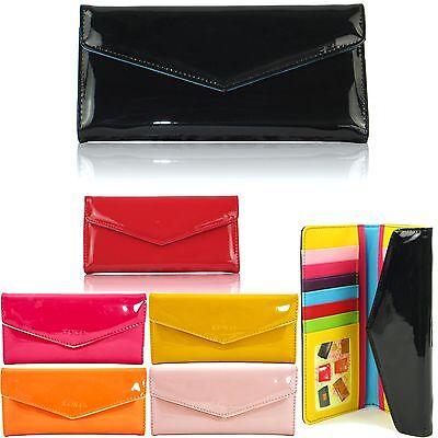 Women Wallet Flat Envelope Patent Faux Leather Ladies Card Coin Purses Trifold