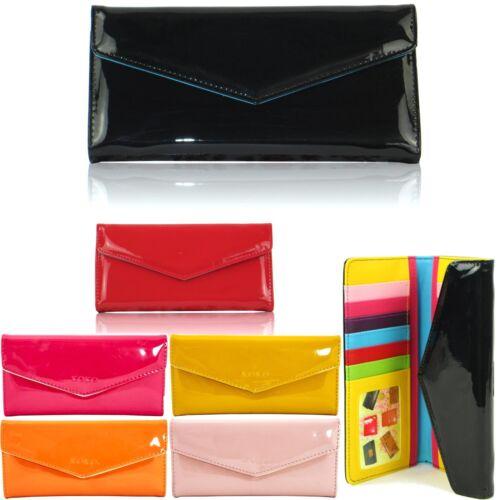 Boxed Patent Ladies Purses Designer Trifold Women Wallets Envelope Girl Coin UK