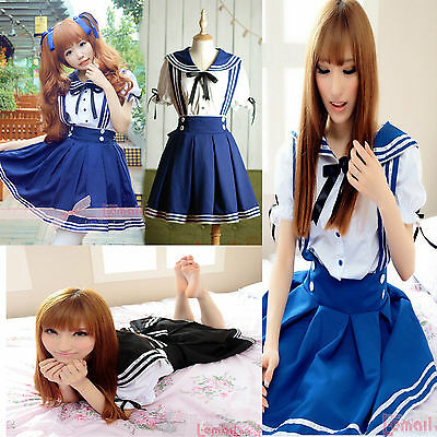 Lolita Maidservant Dress Outfit School Uniform Sailor Suit Cosplay Costumes