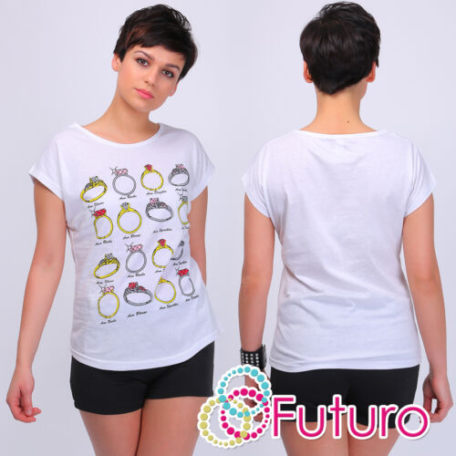 Casual T-Shirt Rings with Diamonds Print Crew Neck Party Cotton Sizes 8-14 FB207