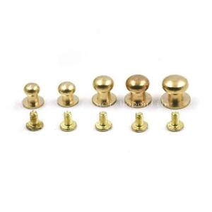 Brass Head Button Stud Screwback Screws For Leather rivet Bag Screw Chicago nail