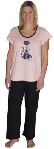 Ladies Plus Size Pyjama 100/% Cotton  Cat Print Soft Jersey  22 24 26 28 30 32