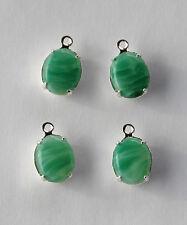 VINTAGE 4 LIGHT JADE GREEN MOTTLED GLASS OVAL PENDANT BEADS • 10x8 • silver set