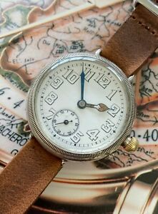 Rare-Longines-B-amp-Co-Borgel-WW1-Silver-Early-Trench-Watch-Superb-Looking-Piece