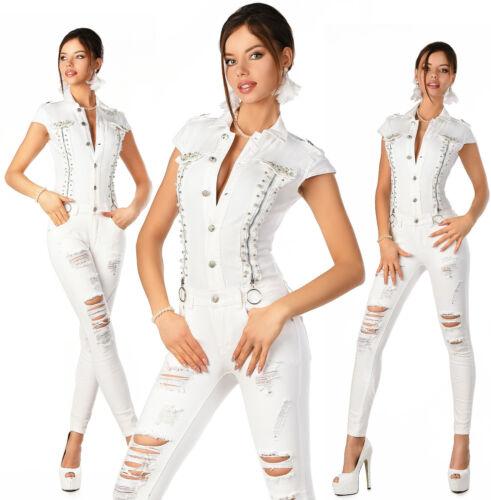 Sexy Perla Denim Skinny 987 Overall bianca Slim donna nuovi I Jeans Tuta wwqFZA