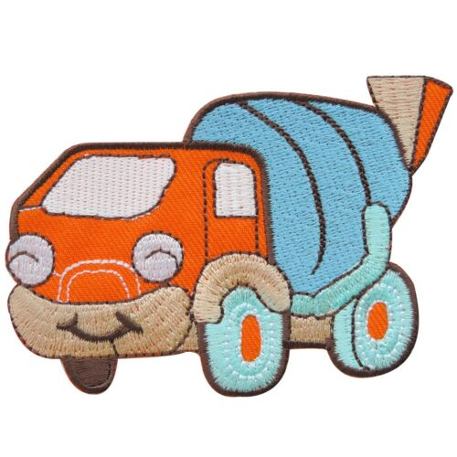Cement Truck Orange Smile Happy Construction Tractor Engine Iron on Patch #MC072