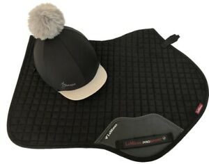 LeMieux-Matching-Black-Suede-Full-Size-Close-Contact-Cloth-amp-Hat-Silk