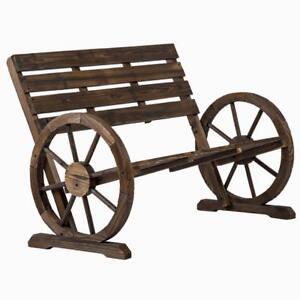 Image Is Loading New Wooden Wagon Wheel Bench Garden Loveseat Rustic