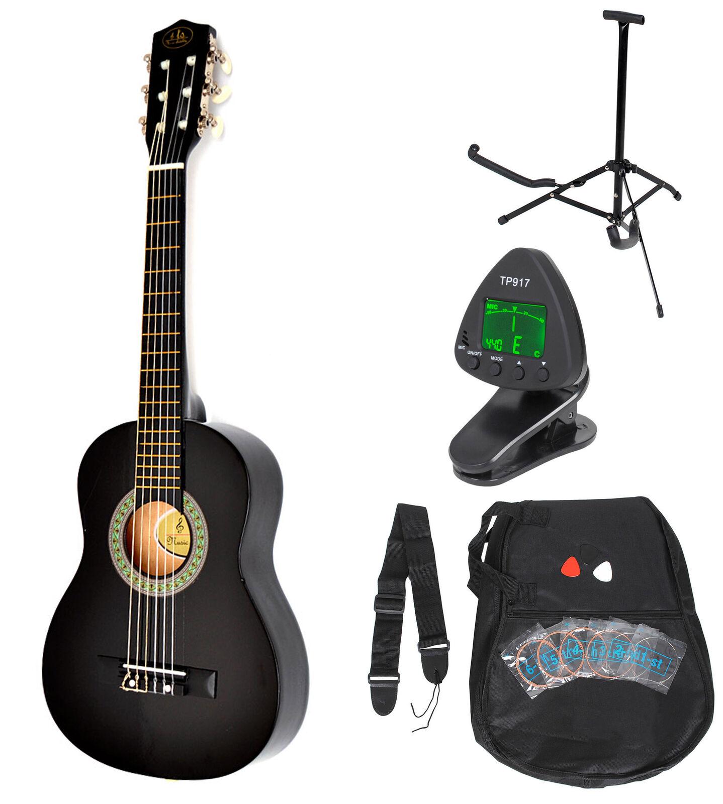 Guitarra de concierto acústica (1 4, infantil, incluye set de accesorios), schwarz