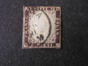 ITALIAN-SARDINIA-SCOTT-11j-10c-VALUE-DARK-BROWN-1859-IMPERF-EMMANUEL-USED