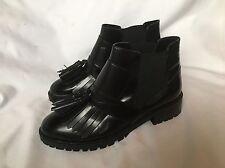 Nuevo Asos Negro con Flecos De Cuero Biker Boots UK 7 (40)