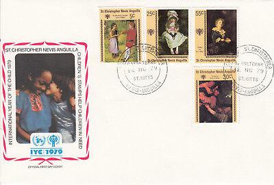 St. Kitts Und Nevis Karibik VertrauenswüRdig St.christopher,nevis,anguilla Fdc Ersttagsbrief 1979 Jahr Des Kindes Mi 383-86