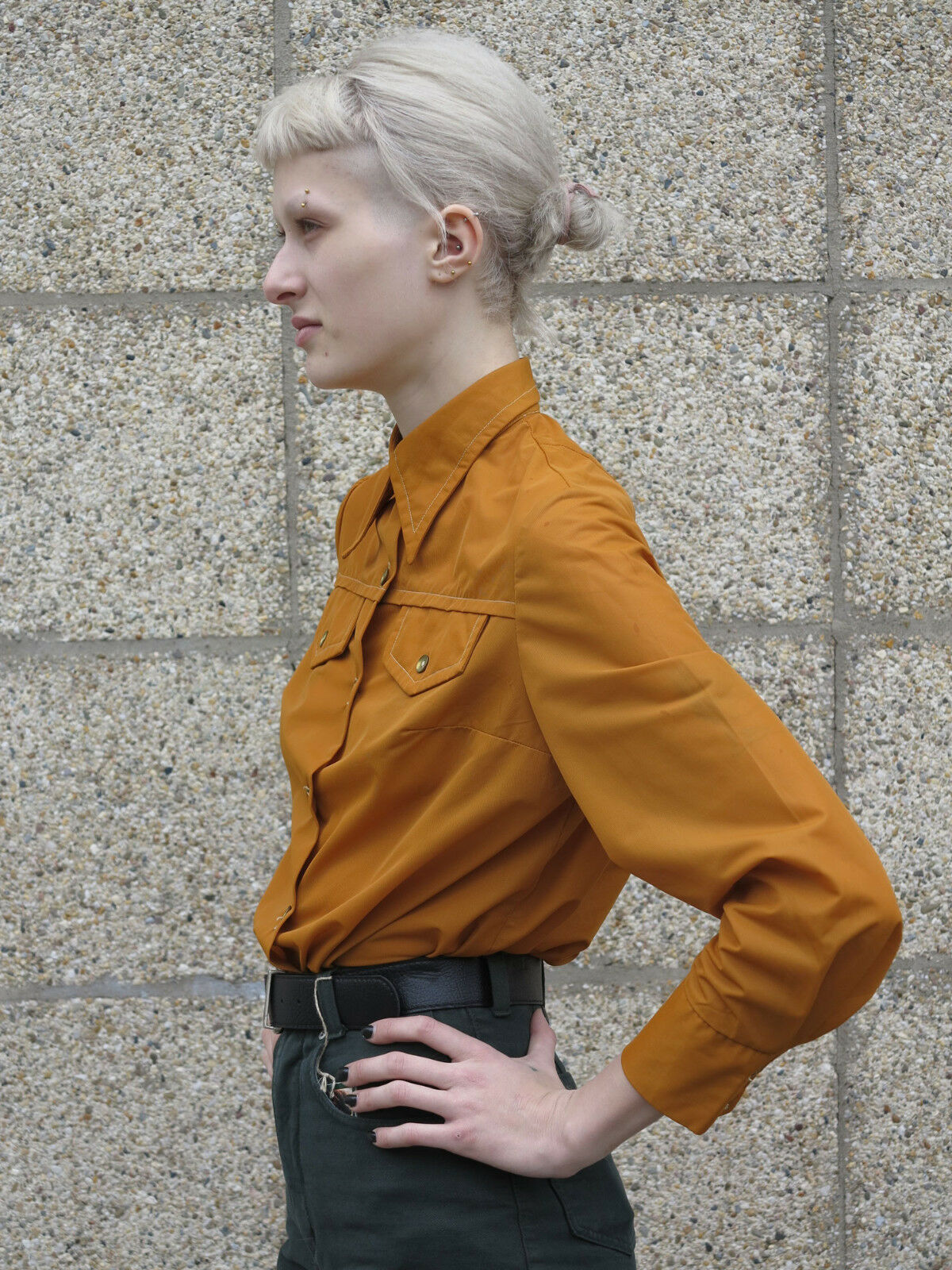 Camicia da da da Donna Camicia ocra stile militare 70er True Vintage 70s Donna blouse 9e2949