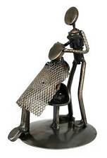 Metal Barber Sculpture Recycled Auto Parts Handmade 'Haircut' NOVICA Mexico