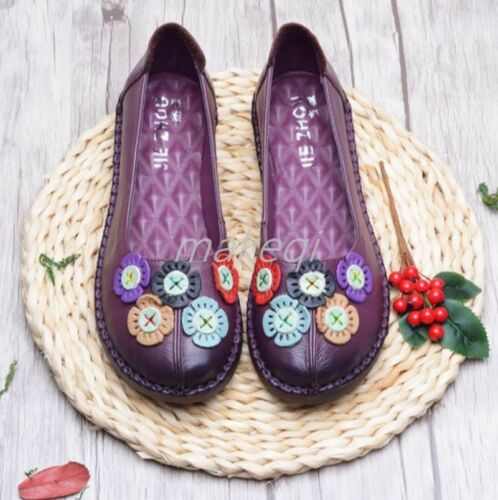 Fashion Womens Flower Slip On Folk Style Pumps SHoes Low Heel Leather Chinese