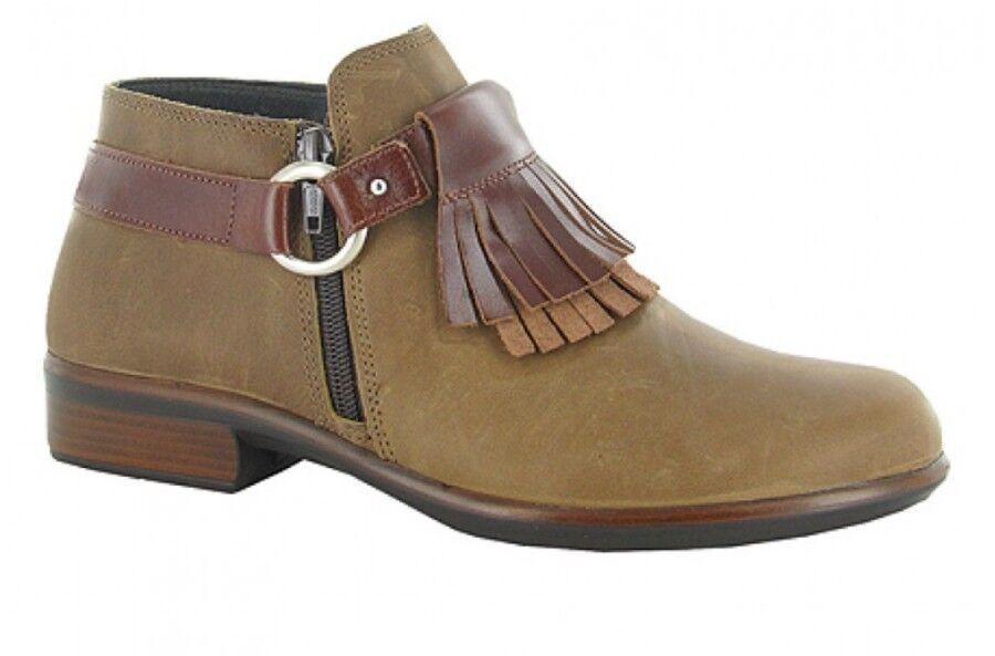 Naot Womens Meltemi EU39 US 8-8.5 Saddle Brown Leather Fringe Kiltie Ankle Boots