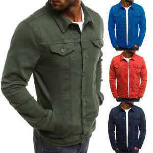 Men-039-s-Casual-Outwear-Jeans-Slim-Fit-Classic-Denim-Coat-Jacket-Tops-Shirts-Spring