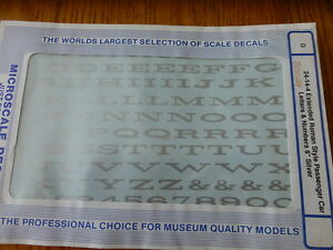 """Microscale Decal #30024 Extended Roman Style Pass Car Letters & Numbers 6"""" Silve"""
