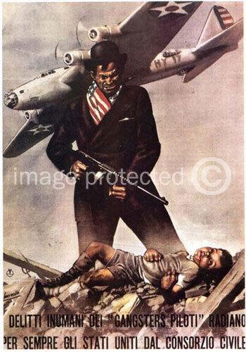 Vintage Italian WW2 Propaganda 11x17 Poster Delitti Inumani