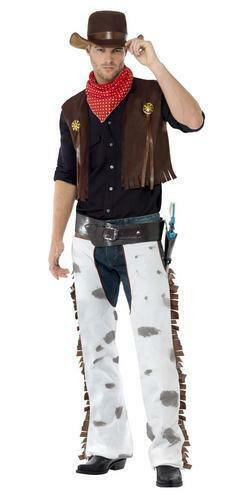 Cowboy Costume Mens Western Wild West Fancy Dress Adult Male Outfit Hat New