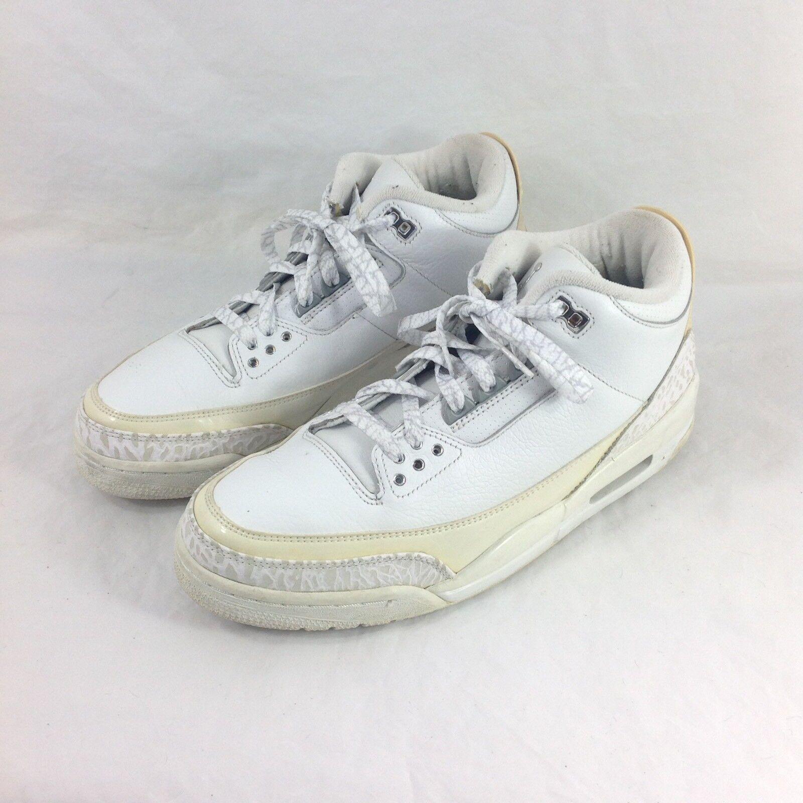 Nike air jordan jordan jordan 3 2007 vintage uomini taglia 10 soldi scarpe da ginnastica136064-103 bianco puro 7e7027