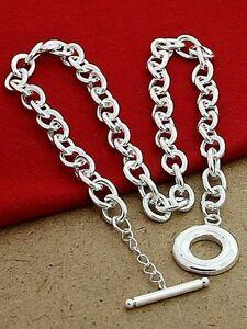 UK-T-O-Chain-Bracelet-anklet-Bangle-925-Stamped-Silver-Christmas-unisex-gift-bag
