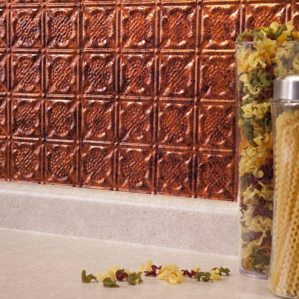 - Kitchen Backsplash Hammered Copper Vinyl Panel Wall Tiles Bath