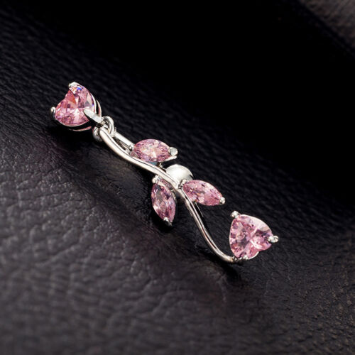 Leaf Belly Ring Branch Shape 316L Steel Pink Gem Crystal Navel Ring Button Ring